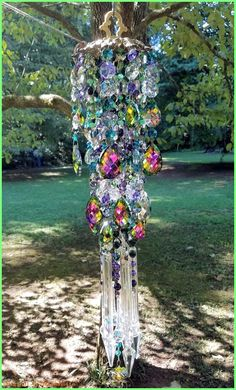 Beaded Wind Chimes Ideas - Autumn Magic Antique Crystal Wind Chime, Green and Purple Crystal Wind Chime… Crystal Wind Chimes, Diy Wind Chimes, Glass Wind Chimes, Mobiles, Sun Catchers, Dream Catchers, Hanging Crystals, Chandelier Crystals, Garden Whimsy