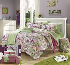 Perfect Home 8 Piece Princesa Paisley and Polka Dot printed REVERSIBLE Twin XLong Comforter Set Green with sheet set ** Be sure to check out this awesome product.