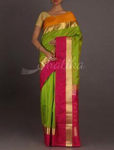 Nitya Ganga Jamuna With Gold Border Standout #WeddingSilkSaree
