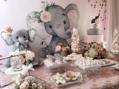 Baby elephant baby shower pink and gray elephant baby shower backdrop baby boy elephant baby shower