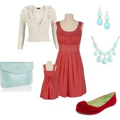 Coral & turquoise, created by jacalb on Polyvore