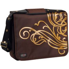 """Laurex 17"""" Laptop Messenger Bag - Gold Wave Brown - Messenger Bags ($64) ❤ liked on Polyvore featuring bags, messenger bags, brown, gold messenger bag, padded messenger bag, padded laptop bag, laptop messenger bags and courier bag"""