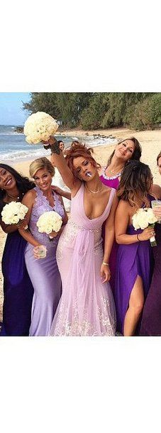 Pin for Later: Rihanna's Bridesmaid Dress Was Pretty Enough to Be a Wedding Gown