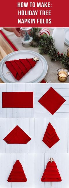 Add personality and style to any holiday table during the festive season with this simple and easy-to-make DIY tree napkin fold! Learn the step-by-step instructions from Walmart today and have a merry and festive holiday! Christmas Tree Napkin Fold, Folding Napkins For Christmas, Easy Napkin Folding, How To Fold Napkins, How To Make Christmas Tree, Thanksgiving Napkin Folds, Holiday Festival, Diy Christmas Table Decorations, Christmas Party Table