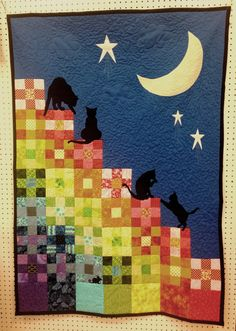 Catscape lap-sized quilt - (rainbow) by Crimson Creates