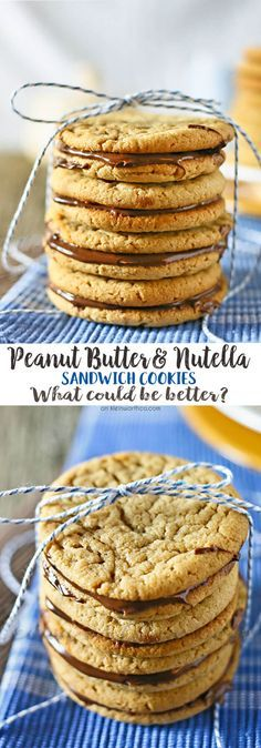 Peanut Butter Nutella Cookies are soft & chewy peanut butter cookies sandwiched together with creamy Nutella. The most delicious dessert! via @KleinworthCo