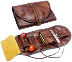 Leather Roll, Leather Tooling, Cow Leather, Leather Bags, Leather Craft, Tobacco Pipe Smoking, Leather Workshop, Bag Organization, Brown Bags