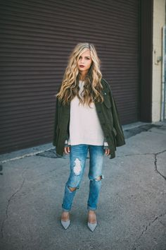 Spotted | Jessa Kae layers this Banana Republic military jacket over a sweater and distressed denim for a polished street style look