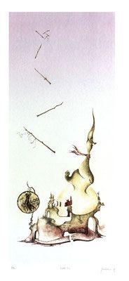 Litografia tirata a mano, in pochissime copie a 6 colori. Omaggio alla vecchia LIRA. Surrealism