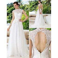 A-vonal magas nyakú csipke és szatén Bíróság Vonat Esküvői ruhák – USD $ 249.99