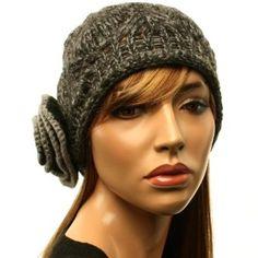 Winter Soft Knit Big Crochet Flower Cloche Bell Beanie Skull Hat Cap Charcoal SK Hat shop. $16.95