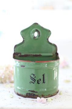 Antique French Green Salt Box