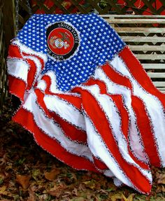 American Flag Marine Corps Rag Blanket / Quilt by CandyUnraveled