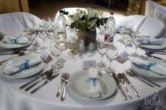 Asztal dekoráció, kék-fehér #eskuvo, #dekor, #kek