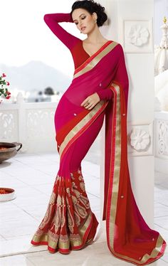 Picture of Sparkling Pink and Red Color Georgette Saree