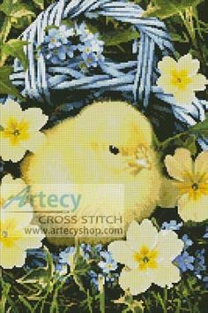 Easter Chick in Basket Cross Stitch Pattern http://www.artecyshop.com/index.php?main_page=product_info&cPath=74_80&products_id=288