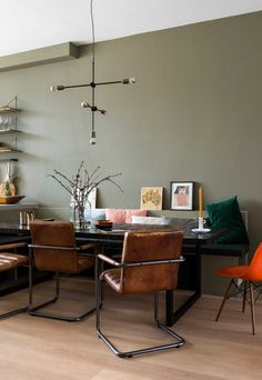 Dining space with black dining table