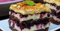 Domowa Cukierenka - Domowa Kuchnia: kakaowe ciasto z jagodami i kremem grysikowym