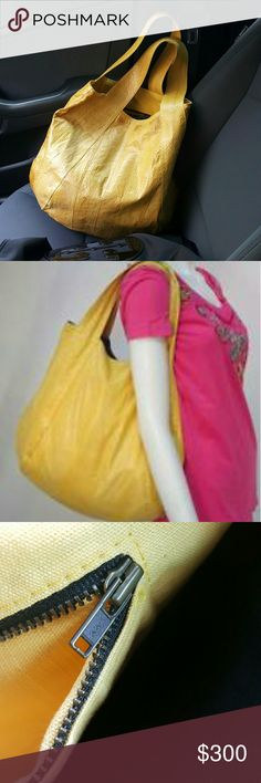 "Authentic beirn tote Yellow python Beirn shoulder bag with dual flat shoulder straps, yellow canvas lining, three interior pockets; one with zip closure and magnetic snap closure at top, and spacious. Authentic (YKK) Designer Jenna (watersnake)  Shoulder Strap Drop: 7"" Height: 16"" Width: 17.5""  Used but in new condition no sign of wear or damages clean tiny pen marks inside not noticeable beirn Bags Totes"