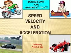This power point is covering the concepts of SPEED, VELOCITY AND ACCELERATION. All above terms look similar to each other at a first glance but still they are different from each other and somehow related to each other. So the basic idea of the difference between them is explained in a very smooth manner providing at least 2 to 3 examples for each.  Colorful pictures with each slide will also help students to digest the concept clearly.
