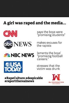 """Rape culture is established and reinforced by the media. The patriarchal society we live in today tends to focus their stories on the so called """"tragedy"""" that occurs when young men throw their futures away after committing rape. The young men are victimized instead of depicted as the criminals they really are. Major media companies hardly ever focus their stories on the victims and the hardship brought to their lives."""
