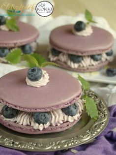 Macarons, Mini Cafe, Macaroon Recipes, Cake & Co, Felt Food, Pastry Cake, My Recipes, Cravings, Blueberry