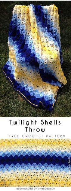 Twilight Shells Throw Free Crochet Pattern #freecrochetPatterns #crochetafghan #freecrochetPatternsforafghan #freecrochetPatternsforblanket #crochetstitch #freecrochetPatternsforthrow #shellblanket