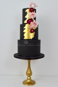 Black and Gold wedding cake by Blossom Tree Cake Company, Harrogate, North Yorkshire