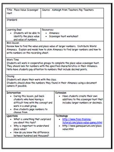 Lesson  Unit Plan Templates For Middle Or High School  School