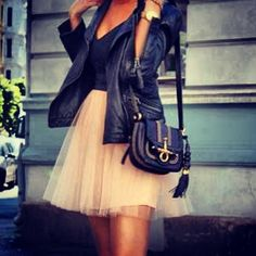 Ballerina skirt with fitted black motorcycle jacket.