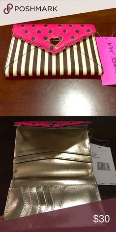 Betsey Johnson Wallet NWT Pink, black and white Wallet with gold lining. Betsey Johnson Bags Wallets