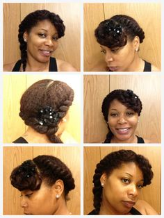Natural Hair Style Flat twist with twisted out bang.