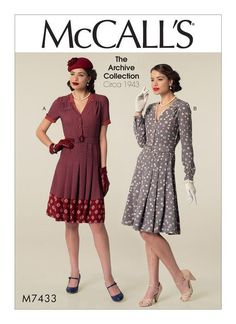 McCall's Archive Collection dress, circa 1943. M7433 Misses' Inverted Notch-Collar Shirtdresses and Belt