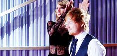"""""""A gif depicting rare footage of how Ed and I get all pumped up to go onstage:"""" -Taylor Swift"""