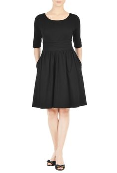 Our cotton jersey knit dress gives you a long and lithe look in a slim A-line cut with soft ruching nipping in the inset waist.