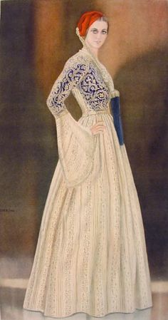 NICOLAS SPERLING Lady's Gala Dress of 1835 1930  lithograph on paper after original watercolour (37x20)