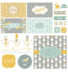 Christmas retro party set vector - by woodhouse84 on VectorStock®