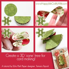 Create a cone 3D Christmas tree card with 3 circles - Designed by Tamara Tripodi - www.HappyLifeCraftyWife.com
