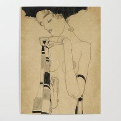 art conceitual Egon Schiele, Portrait Gerti S - art Egon Schiele Drawings, Art Sketches, Art Drawings, Art Du Croquis, Alphonse Mucha, France Art, Girl Posters, Art Et Illustration, Famous Art