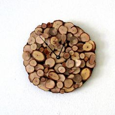 Wood Wall Clock, Oak Wall Clock, Decor and  Housewares, Rustic Home Decor,  Home and Living, Homespunsociety. $71.75, via Etsy. LOVE IT.