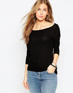 ASOS+Top+with+Off+Shoulder+Detail+in+Slouchy+Rib