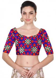 Featuring stitched blue color blouse in multicolor floral design intricate in georgette. You can pair it with saree and lehenga also. Bridal Blouse Designs, Saree Blouse Designs, Blouse Patterns, Blouse Online, Embroidered Blouse, Chain Stitch, Blue Blouse, Lehenga, Sarees