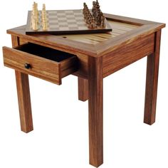 The 3-in-1 Chess Table by Trademark Games will make a beautiful and functional addition to your living area. Its tabletop features both chess and backgammon game boards. When you're not in the midst of a match, the chess game board can be can be reversed to its veneered side concealing the game surfaces.