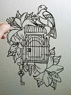 It's not my illustration but I'd fun of cutting out these paper #papercutting #bird #flower #cage #key #freedom #love