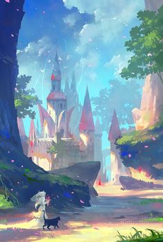 Artwork of castles, keeps, citadels and other fortified structures from the past, present, or future. Fantasy Art Landscapes, Fantasy Landscape, Landscape Art, Landscape Paintings, Art And Illustration, Art Illustrations, Art Manga, Landscape Concept, Environment Concept Art