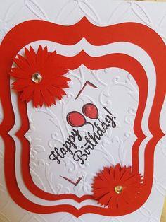 """Pretty handmade birthday card """"Red&White"""" by ArtDenia on Etsy"""