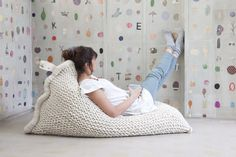 This considerable beanbag chair. | 21 Gigantic Knitted Things You'd Love To Cuddle UpWith