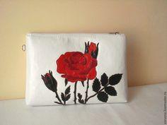"""Купить Летний клатч """"Роза"""" - белый, рисунок, роза, клатч с розами, авторская сумка"""
