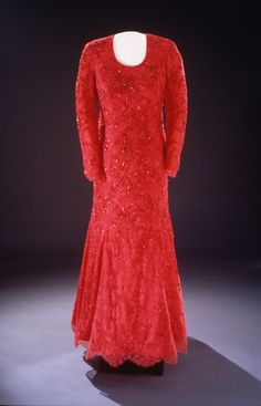 Laura Bush's Inaugural Ball Gown. Laura Bush wore this ruby-red gown of crystal-embroidered Chantilly lace over silk georgette to the 2001 inaugural balls. Fellow Texan Michael Faircloth designed the dress.