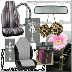 Top 10 girly car accessory gifts from CarDecor.com. Baja blanket seat cover, steering wheel cover, guardian angel car charm, pink daisy autovase, houndstooth seat cover, rhinestone license plate frame, leopard fuzzy dice, pink driver organizer, cross car charm and zebra license plate frame. Rhinestone License Plate Frames, Girly Car, Car Essentials, Car Accessories For Girls, Pink Daisy, Wheel Cover, My Ride, Cool Cars, Dream Cars